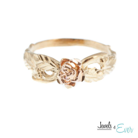 Sterling Silver Vintage Vermeil Rose Gold Ring with 22KT Yellow Gold plating
