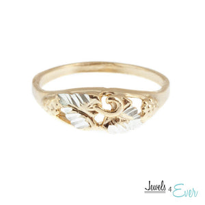 Sterling Silver Vintage Vermeil Grape Leaf Ring with 22KT Yellow Gold plating