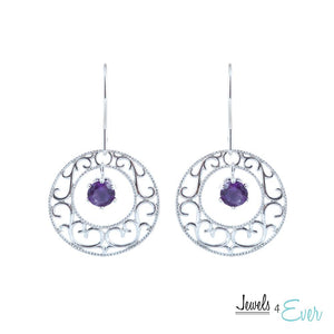 Sterling Silver Filigree Earrings with 5 mm Genuine Gemstones