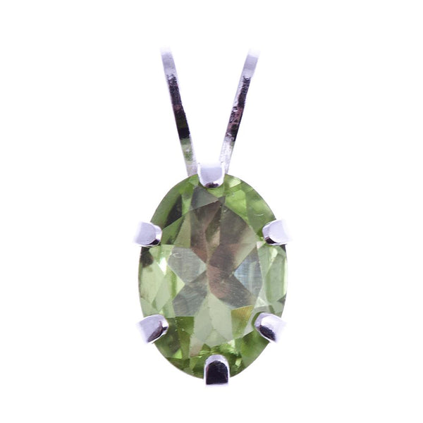 Beautiful Sterling Silver Pendant with 7 x 5 mm Genuine Gemstone
