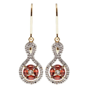 Sterling Silver Gold Plated Garnet Earrings