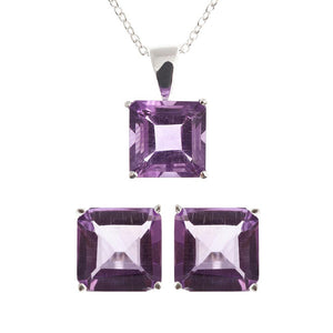 Sterling Silver Genuine Amethyst Earrings and Pendant Necklace set