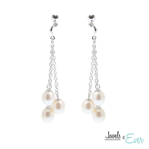 Sterling Silver White Freshwater Pearl Earrings
