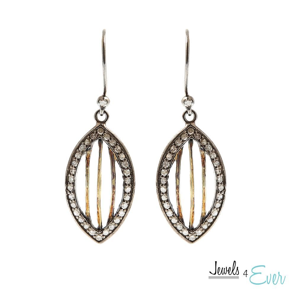 Sterling Silver & Yellow Gold Diamond Earrings
