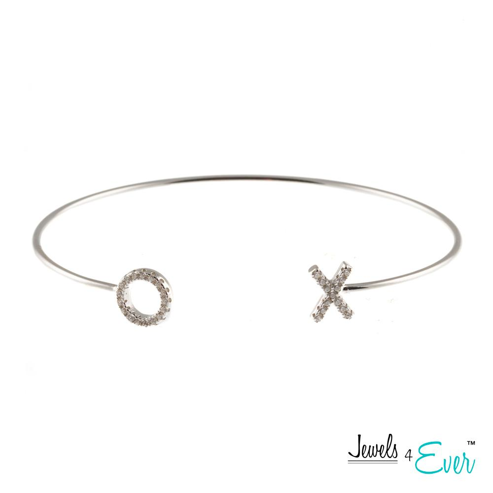 Hugs and Kisses CZ 925 Sterling Silver Bangle