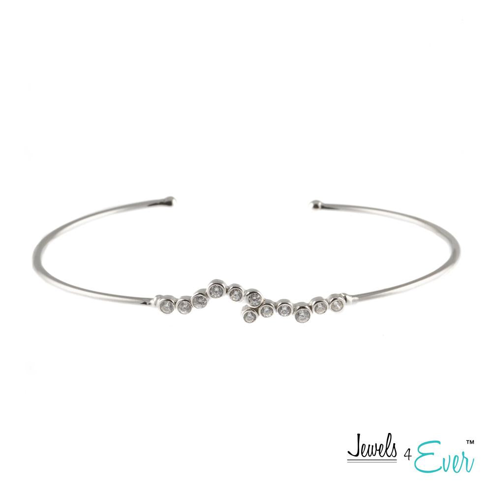 Sparkling CZ Rhodium Plated 925 Sterling Silver Bangle