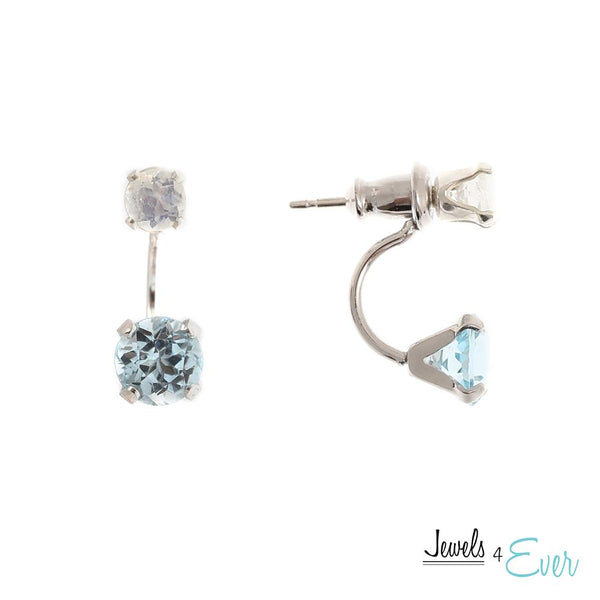 Sterling Silver Double Stud Earrings with 6mm Genuine Gemstone & 4mm Moonstone