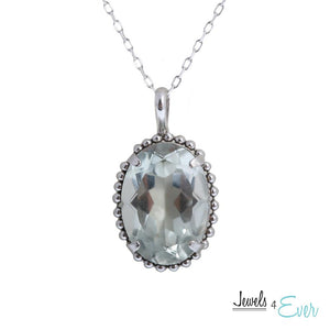 "Sterling Silver Milgrain Pendant set with 10x14mm 6 Carat Genuine Gemstone and 16"" Chain"