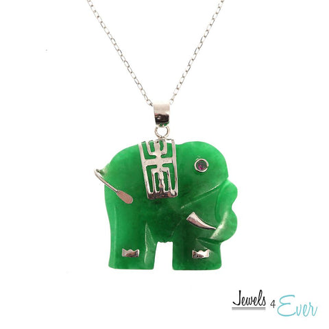 "Sterling Silver Dyed Jade Elephant Pendant with 16"" Rhodium Plated Chain"