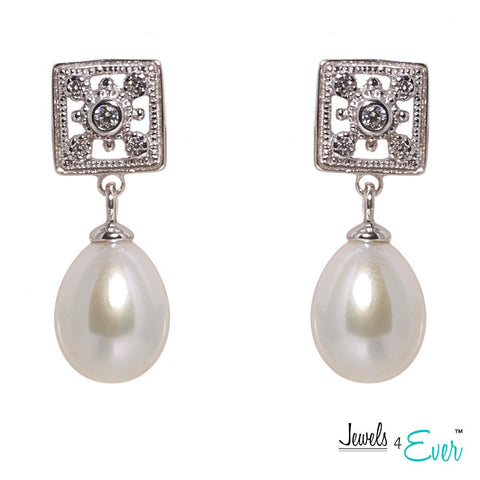 CZ Genuine Freshwater Pearls  925 Sterling Silver Earrings