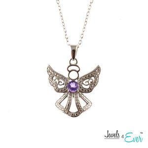 Genuine Sterling Silver and Genuine Gemstone Angel Pendant and Chain Set