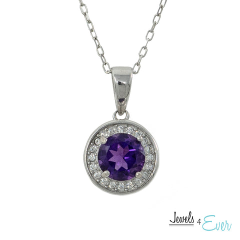 925 Sterling Silver Amethyst and CZ Pendant and Chain Set
