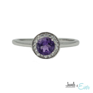 925 Sterling Silver Amethyst and CZ Ring