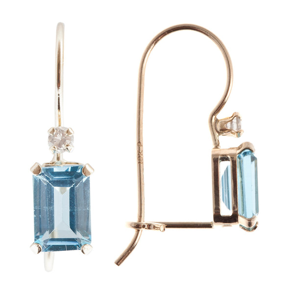 10KT White Gold French Wire Earrings with Genuine Gemstone and Diamond