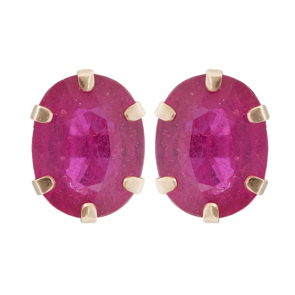10KT Yellow Gold 9 x 7mm Genuine Gemstone Stud Earrings