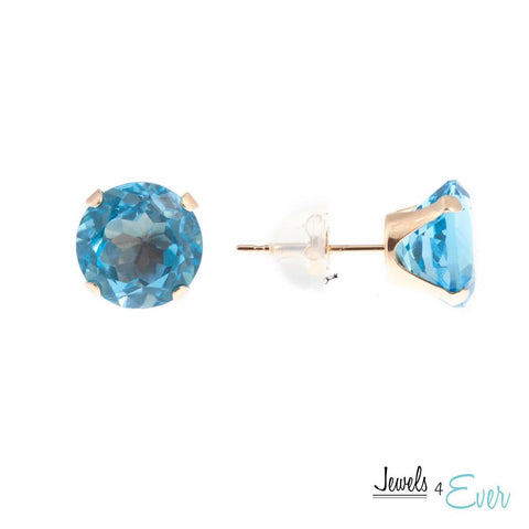 10KT Yellow Gold 8 mm Genuine Blue Topaz Stud Earrings