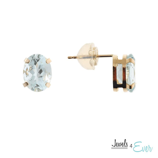 10KT Yellow Gold 8 x 6 mm Genuine Gemstone Stud Earrings