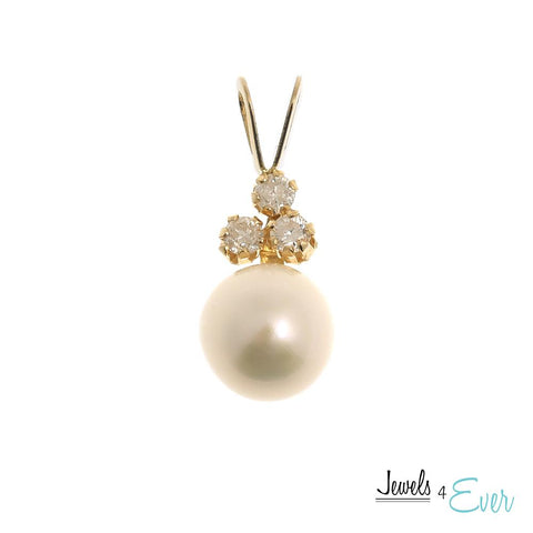 14KT Yellow Gold Freshwater Pearl and Diamond Pendant