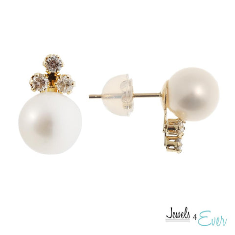 14KT Yellow Gold Freshwater Pearl and Diamond Earrings