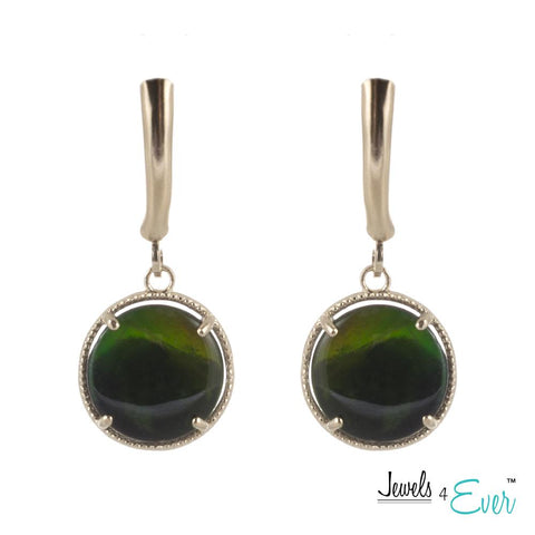 10KT Yellow Gold 10mm Genuine Gemstone Earrings