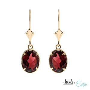 10KT Yellow Gold 9 x 7 mm Genuine Garnet Earrings