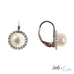 Sterling Silver 7mm Genuine Freshwater Pearl Milgrain Earrings