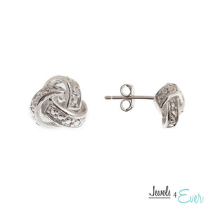 Sterling Silver Diamond Love Knot Earrings
