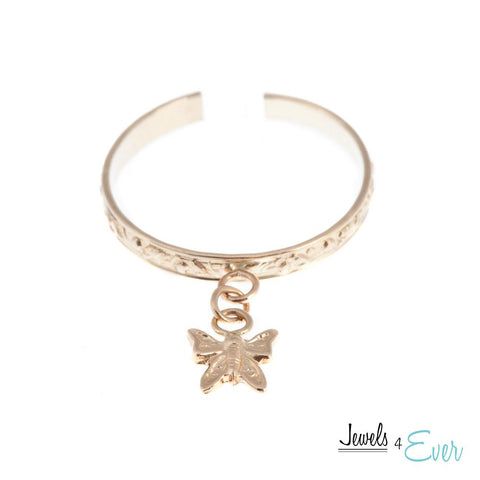10KT Yellow Gold Butterfly Dangle Toe Ring