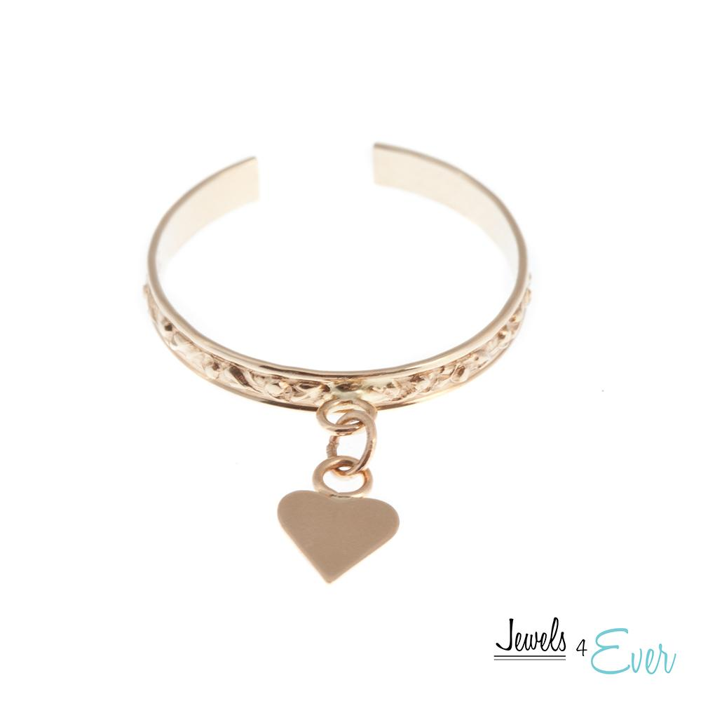 10KT Yellow Gold Heart Charm Dangle Toe Ring
