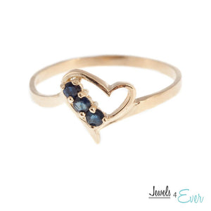 10KT Yellow Gold Genuine 2 mm Gemstone Heart Ring