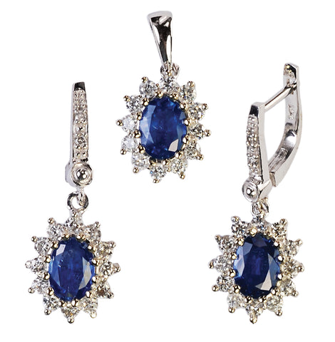 14KT White/Yellow Gold Genuine Sapphire & Diamond Earrings and Pendant Set