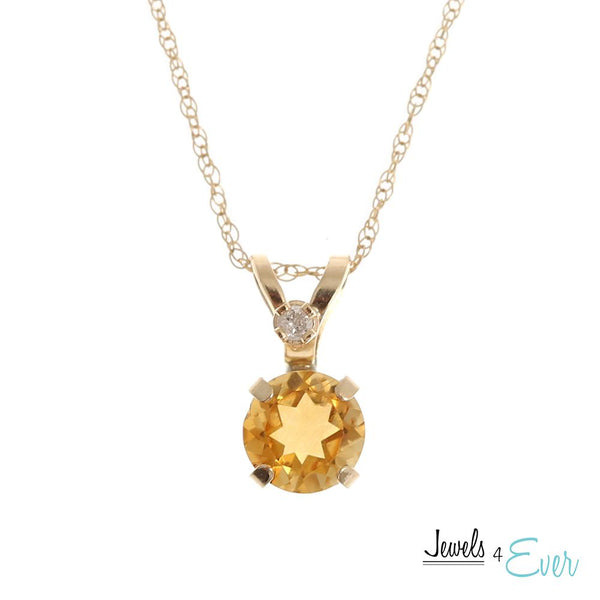 "10KT Yellow Gold 5mm Genuine Gemstone & Diamond Pendant with 18"" chain"
