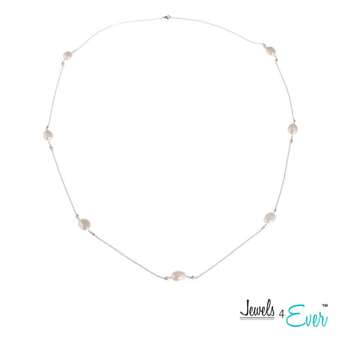 Genuine Freshwater Pearls and  Sterling Silver Chain Necklace