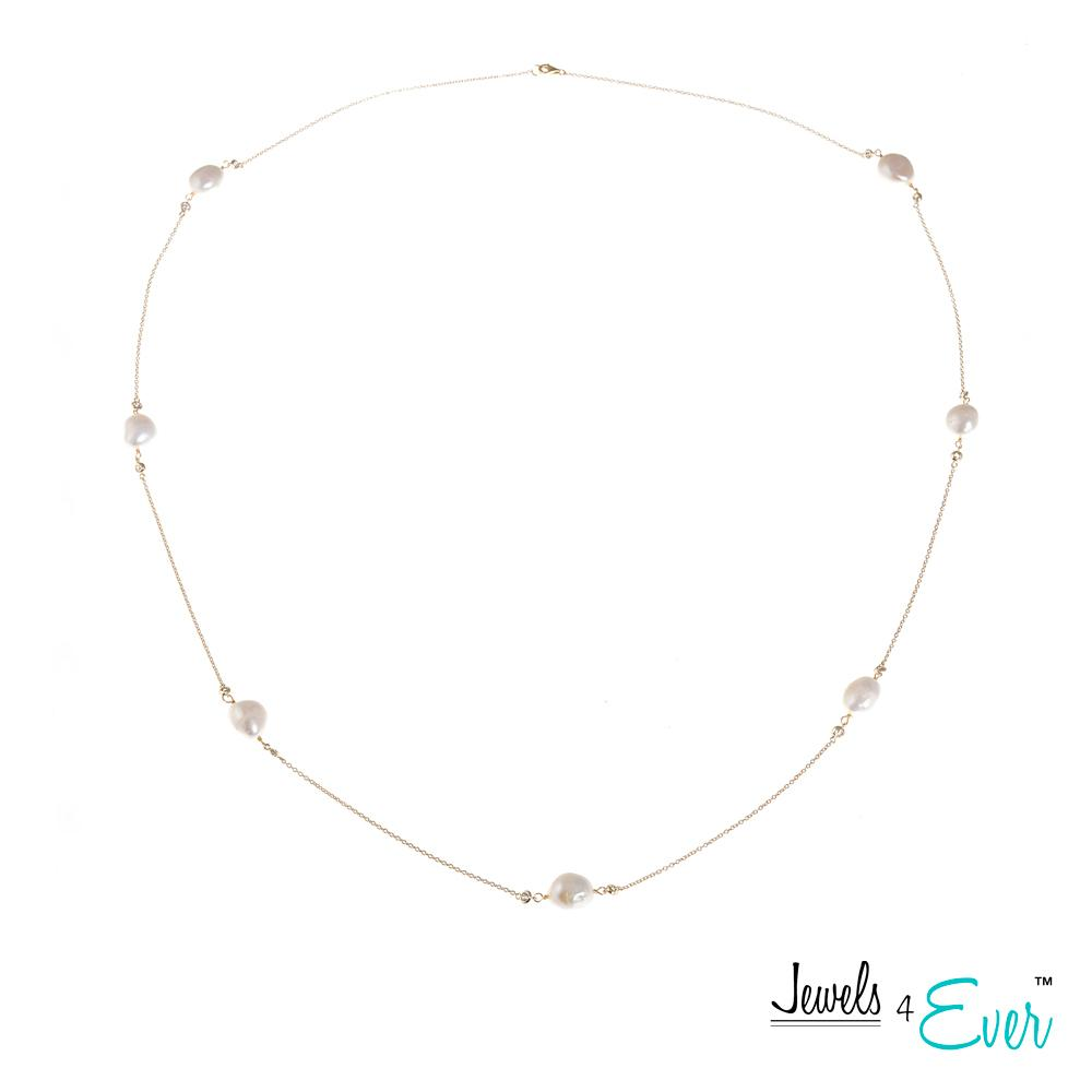 Genuine Freshwater Pearls and  Sterling Silver & Gold Plated Chain Necklace