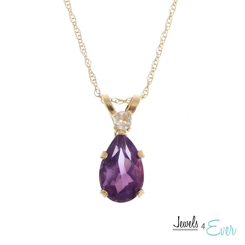 10KT Yellow Gold Genuine Amethyst & Moonstone Teardrop Pendant