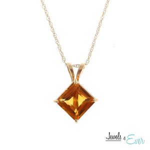 "10KT Yellow Gold 6x6mm Genuine Gemstone Pendant, with 18"" chain"