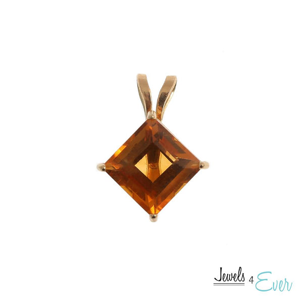10KT Yellow Gold 6x6mm Genuine Gemstone Pendant
