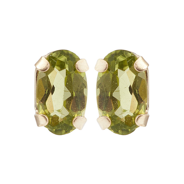 10KT Yellow Gold 5 x 3 mm Genuine Gemstone Stud Earrings