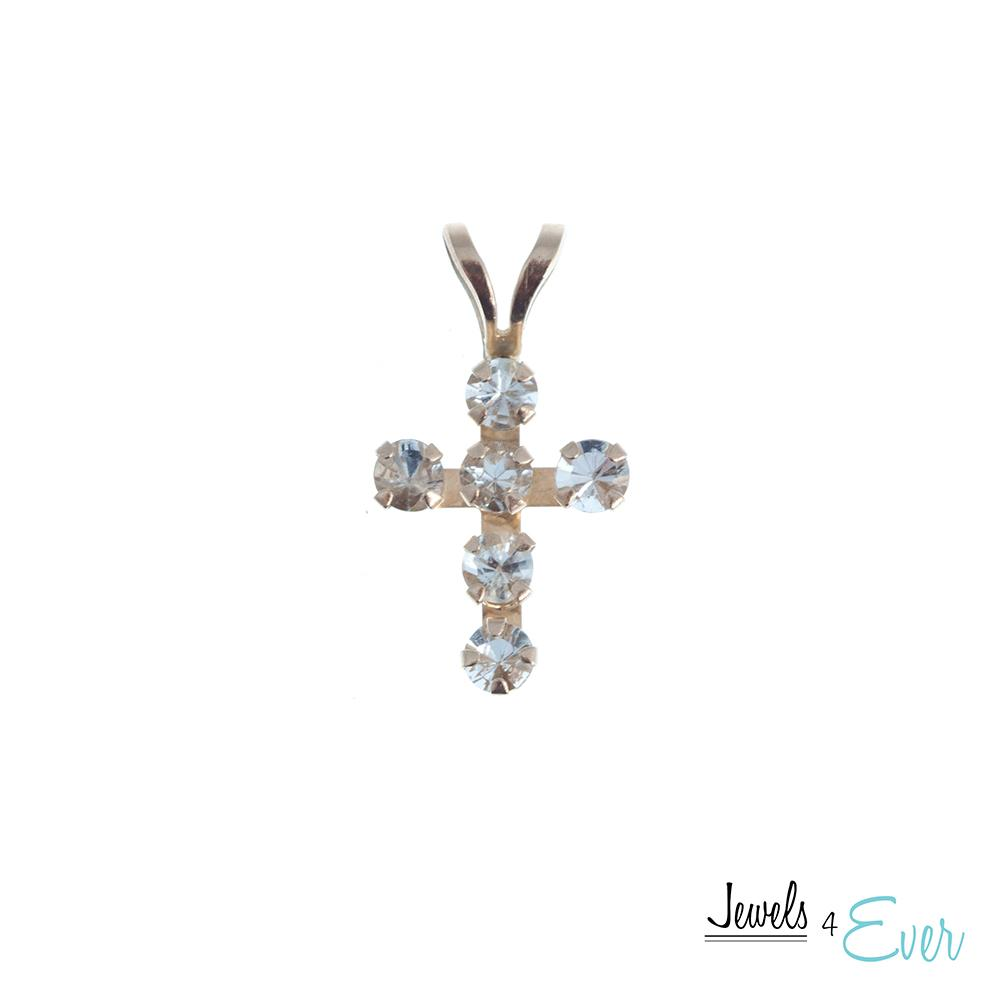 10KT Yellow Gold Genuine Gemstone Cross Pendant