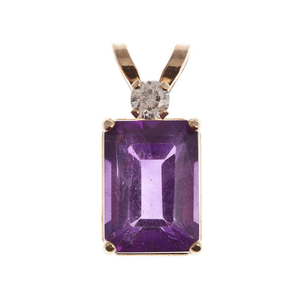 10KT Gold Genuine Gemstone and Diamond Pendant