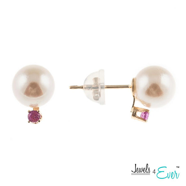 14KT Yellow Gold Cultured Pearl and Genuine Gemstone/Diamond Earrings