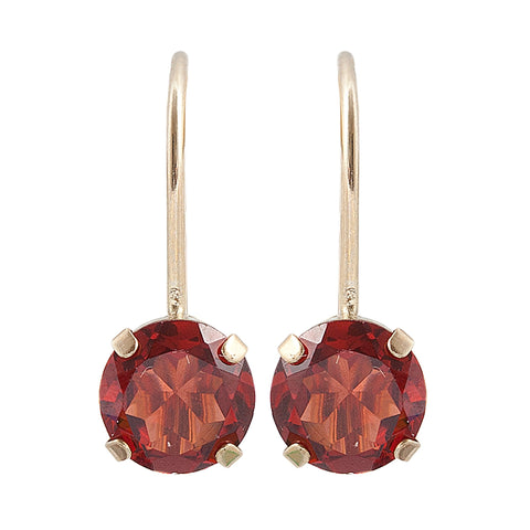 10KT Yellow Gold 5 mm Genuine Gemstone Lever-back Earrings