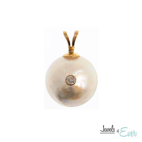 14KT Yellow Gold Pendant set with 12 mm Mabe Pearl