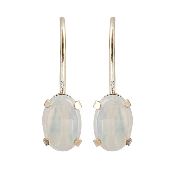 10KT Yellow Gold 6 x 4mm Genuine Gemstone Lever-back Earrings