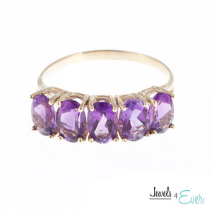 10KT Gold Ring set with 6x4 mm Genuine Amethyst