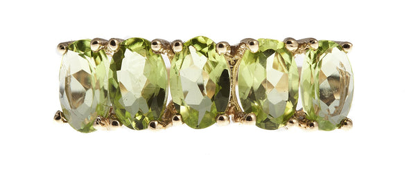 10KT Gold Ring set with 6x4mm Genuine Peridot