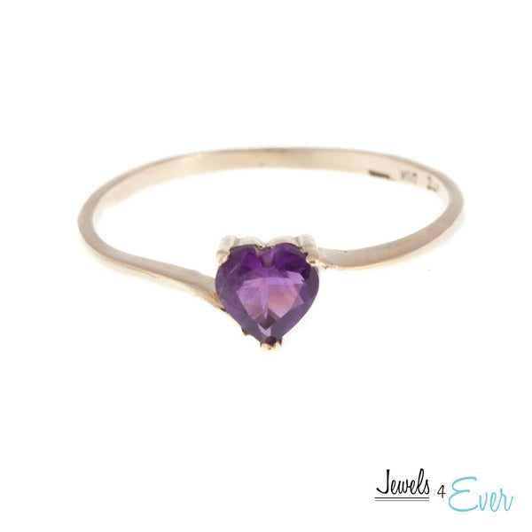 10KT White / Yellow Gold Ring Set With Genuine Heart-Shaped Gemstone