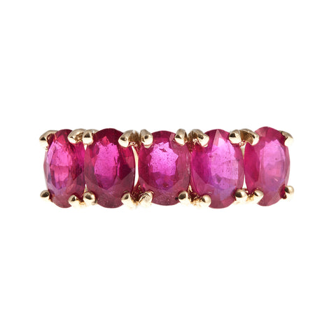 10KT Gold Ring set with 6x4 mm Genuine Ruby