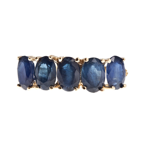 10KT Gold Ring set with 6x4mm Genuine Sapphire