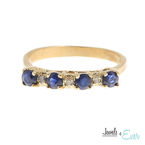 10KT Yellow Gold Ring set with 3 x 3 mm Genuine Sapphire and Diamond